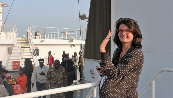 Justine sur le ferry